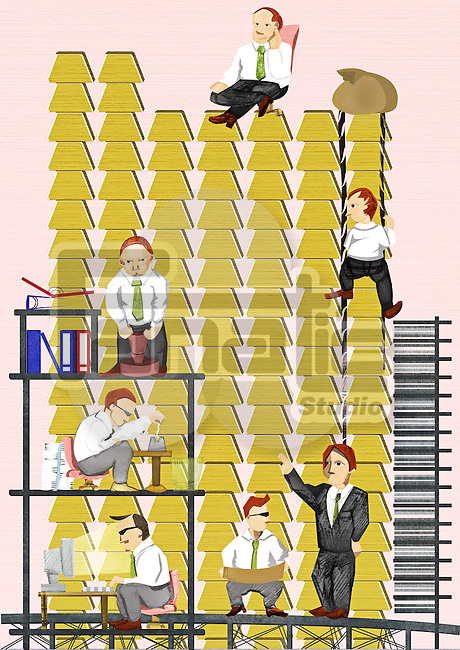 Illustration of businesspeople working together for growth
