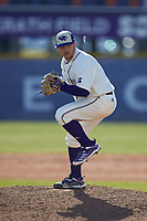 High Point Panthers pitcher Chris Apecechea (24) in action against the Bryant Bulldogs at Williard Stadium on February 21, 2021 in  Winston-Salem, North Carolina. The Panthers defeated the Bulldogs 3-2. (Brian Westerholt/Four Seam Images)