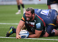 29th May 2021; Sixways Stadium, Worcester, Worcestershire, England; Premiership Rugby, Worcester Warriors versus Leicester Tigers; Ellis Genge of Leicester Tigers scores a try