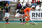GER - Mannheim, Germany, May 25: During the U16 Boys match between The Netherlands (orange) and Germany (black) during the international witsun tournament on May 25, 2015 at Mannheimer HC in Mannheim, Germany. Final score 3-4 (1-2). (Photo by Dirk Markgraf / www.265-images.com) *** Local caption *** Jon Mechtold #24 of Germany, Texas Bukkens #14 of The Netherlands