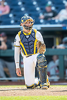 Michigan Wolverines catcher Harrison Salter (11) at the pate during Game 11 of the NCAA College World Series against the Texas Tech Red Raiders on June 21, 2019 at TD Ameritrade Park in Omaha, Nebraska. Michigan defeated Texas Tech 15-3 and is headed to the CWS Finals. (Andrew Woolley/Four Seam Images)