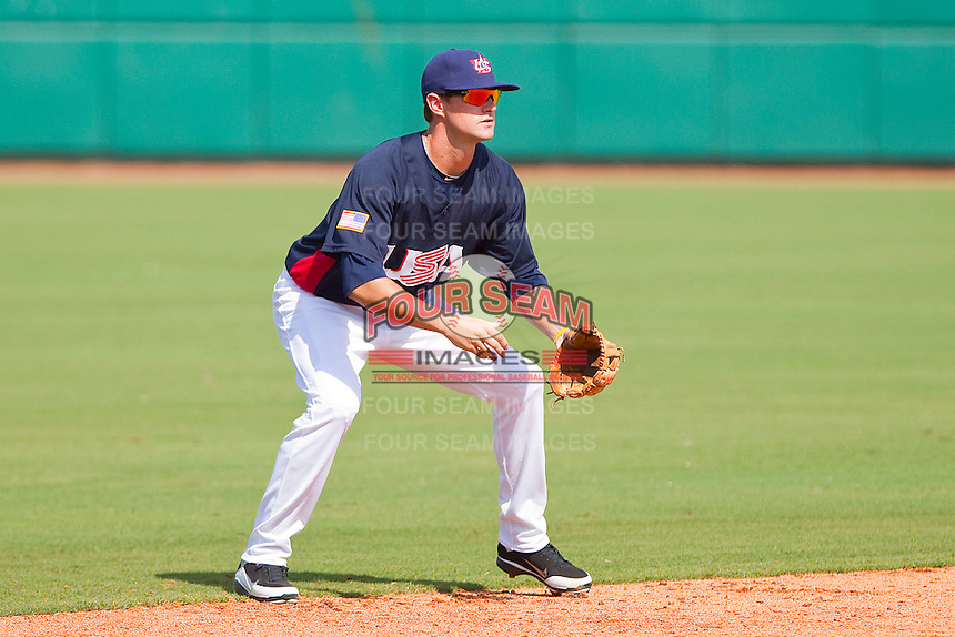 Shortstop Jordy Mercer #4 of the United States World Cup/Pan Am Team on defense against Team Canada at the USA Baseball National Training Center on September 28, 2011 in Cary, North Carolina.  (Brian Westerholt / Four Seam Images)