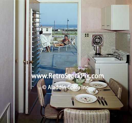 El Ray Motel, Wildwood, NJ. Efficiency Room and ocean view. 1960's