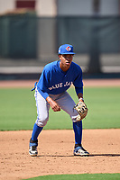 Toronto Blue Jays third baseman Angel Del Rosario (43) during an Extended Spring Training game against the Philadelphia Phillies on June 12, 2021 at the Carpenter Complex in Clearwater, Florida. (Mike Janes/Four Seam Images)