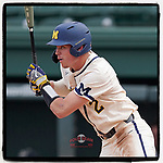 Shortstop Benjamin Sems (2) of the Michigan Wolverines, No. 105 in Baseball America's top college players, bats in a game against the Purdue Boilermakers on Friday, March 12, 2021, at Fluor Field at the West End in Greenville, South Carolina. Michigan won, 9-1. (Tom Priddy/Four Seam Images)