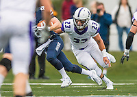 8 October 2016: Amherst College Purple & White Defensive Back Stefan Soucy, a Senior from Exeter, NH, in action against the Middlebury College Panthers at Alumni Stadium in Middlebury, Vermont. The Panthers edged out the Purple & While 27-26. Mandatory Credit: Ed Wolfstein Photo *** RAW (NEF) Image File Available ***
