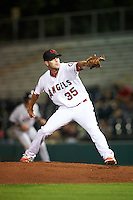 Scottsdale Scorpions pitcher Adam Hofacket (35), of the Los Angeles Angels of Anaheim organization, during a game against the Mesa Solar Sox on October 17, 2016 at Scottsdale Stadium in Scottsdale, Arizona.  Mesa defeated Scottsdale 12-2.  (Mike Janes/Four Seam Images)
