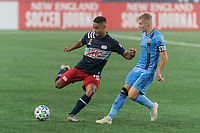 FOXBOROUGH, MA - SEPTEMBER 02: Brandon Bye #15 of New England Revolution passes the ball as Alexander Ring #8 of New York City FC closes during a game between New York City FC and New England Revolution at Gillette Stadium on September 02, 2020 in Foxborough, Massachusetts.