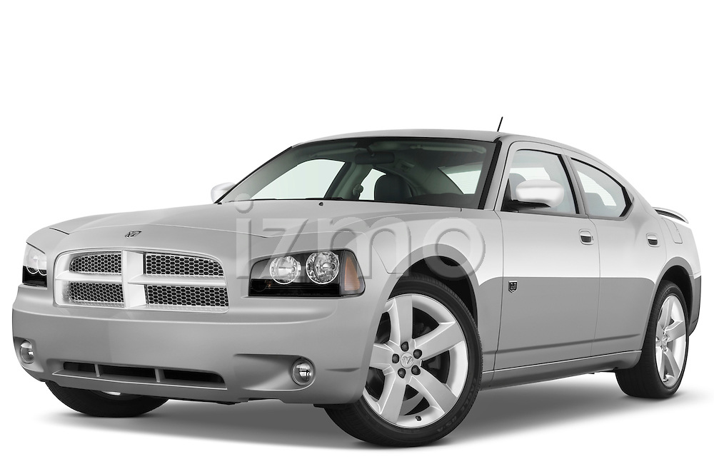 Low aggressive front three quarter view of a 2008 Dodge Charger Dub.