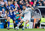Daniel Carvajal Ramos (R) of Real Madrid fights for the ball with Alfonso Pedraza Sag of Deportivo Alaves during the La Liga 2017-18 match between Real Madrid and Deportivo Alaves at Santiago Bernabeu Stadium on February 24 2018 in Madrid, Spain. Photo by Diego Souto / Power Sport Images