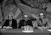 Les trois chefs syndicaux, Marcel Pepin (CSN), Louis Laberge (FTQ) et Yvon Charbonneau (CEQ) ,<br /> le 20 fevrier 1972<br /> <br /> Photographe : Photo Moderne<br /> - agence Quebec Presse