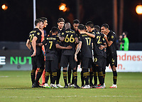 LAKE BUENA VISTA, FL - JULY 18: LAFC huddle at midfield during a game between Los Angeles Galaxy and Los Angeles FC at ESPN Wide World of Sports on July 18, 2020 in Lake Buena Vista, Florida.