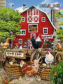 Lori, LANDSCAPES, LANDSCHAFTEN, PAISAJES, paintings+++++Chickens Down On The Farm_7_10in_72,USLS145,#l#, EVERYDAY ,puzzle,puzzles