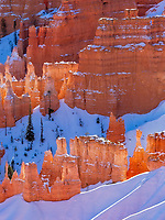 Bryce Canyon National Park in southern Utah is a wonderland of hoodoos.  Winter in this park can be especially beautiful when the snow helps isolate the majesty of the eroded natural pillars. The reflected light will cause the snow to be tinted orange and the rock formations even brighter than usual.