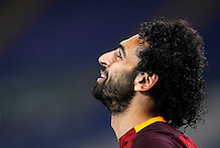 Calcio, Serie A:  Roma vs Palermo. Roma, stadio Olimpico, 21 febbraio 2016. <br /> Roma's Mohamed Salah celebrates after scoring during the Italian Serie A football match between Roma and Palermo at Rome's Olympic stadium, 21 February 2016.<br /> UPDATE IMAGES PRESS/Riccardo De Luca