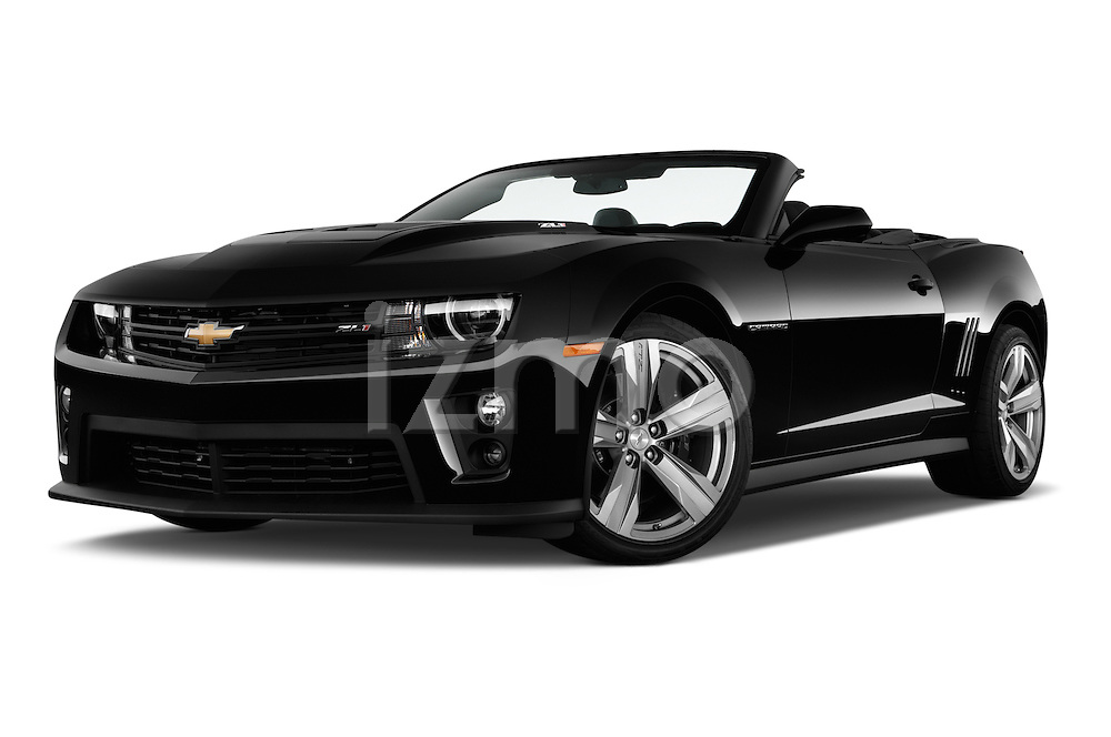 Low aggressive front three quarter view of a 2013 Chevrolet Camaro Convertible ZL1 5a