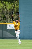 FCL Pirates Gold outfielder Randy Romero (23) celebrates after the final out of a game against the FCL Red Sox on July 1, 2021 at Pirate City in Bradenton, Florida.  (Mike Janes/Four Seam Images)