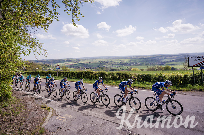 The Wolfpack leading the herd for team leader (and defending race champion) Julian ALAPHILIPPE (FRA/Deceuninck-Quick Step)<br /> <br /> 83rd La Flèche Wallonne 2019 (1.UWT)<br /> One day race from Ans to Mur de Huy (BEL/195km)<br /> <br /> ©kramon