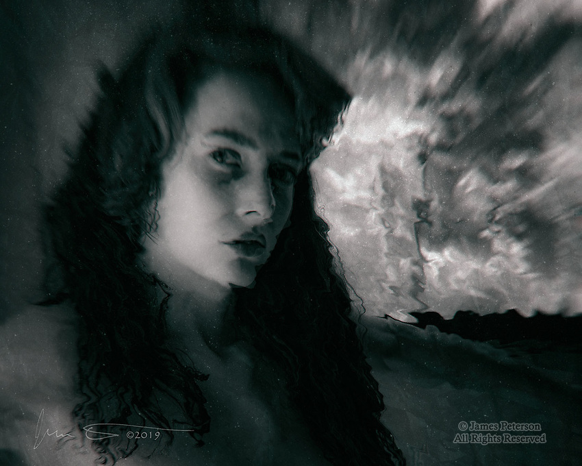 Disquiet ©2019 James D Peterson.  Here's something a bit outside my normal box - an altered image of the beautiful model Ortrun, from a photo shoot at Red Bench Studio last summer. I envisioned this image as one that might be an illustration for a gothic or horror story, or perhaps a novel about someone who's struggling at the ragged edge of sanity in a crazy world. In any case, Ortrun is always a joy to work with -- she is capable of an amazing range of expressions and moods, and is a great collaborator in the creative process!