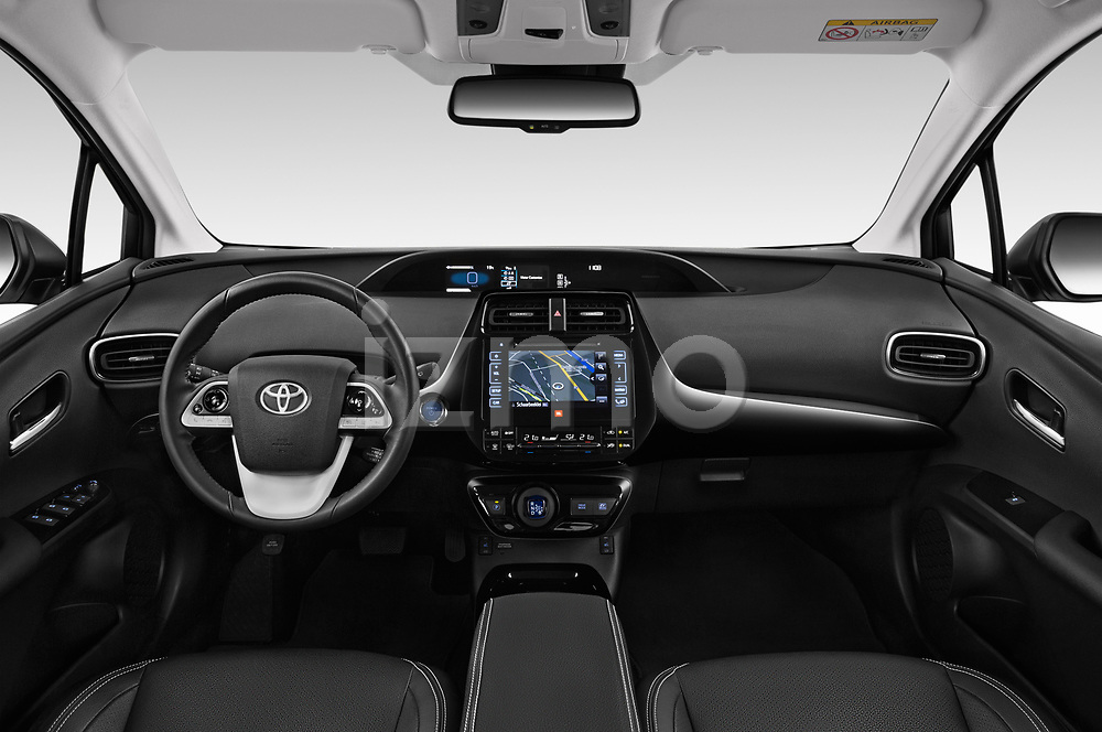 Stock photo of straight dashboard view of a 2018 Toyota Prius Lounge 5 Door Hatchback