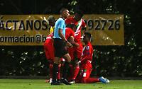 BOGOTA -COLOMBIA,18-12-2020:Bogotá FC y Cortuluá  en partido por los cuadrangulares semifinales fecha 6 del Torneo BetPlay DIMAYOR I 2020 jugado en el estadio Metropolitano de Techo . / Bogota FC and Cortulua  in match for the semifinals quarters 6 date BetPlay DIMAYOR Tournament I 2020 played at Metropolitano de Techo stadium in Bogotá: VizzorImage/ Daniel Garzon / Contribuidor