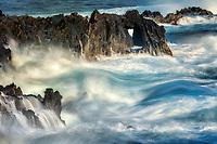Waves and heart shaped rock. Kapalua, Maui, Hawaii