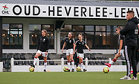 OHL players pictured during the warm up before a female soccer game between Oud Heverlee Leuven and Femina White Star Woluwe  on the 5 th matchday of the 2020 - 2021 season of Belgian Womens Super League , Sunday 18 th of October 2020  in Heverlee , Belgium . PHOTO SPORTPIX.BE | SPP | SEVIL OKTEM