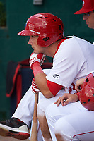 Auburn Doubledays first baseman Chance Shepard (23) in the dugout during the second game of a doubleheader against the Mahoning Valley Scrappers on July 2, 2017 at Falcon Park in Auburn, New York.  Mahoning Valley defeated Auburn 3-2.  (Mike Janes/Four Seam Images)