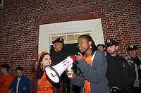Blockading the entrance to Harvard President's office at Massachusetts Hall during Harvard Heat Week calling on Harvard University to divest from Fossil Fuels 4.12.15