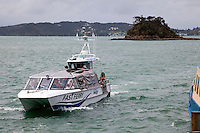 Ferry Arriving at Paihia from Russell, north island, New Zealand.