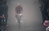 Sonny Colbrelli (ITA/Bahrain-Merida) with a newspaper ready (for the descent) up the Port de Balès (HC/1755m/11.7km/7.7%)<br /> <br /> 104th Tour de France 2017<br /> Stage 12 - Pau › Peyragudes (214km)