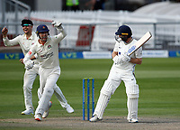 29th May 2021; Emirates Old Trafford, Manchester, Lancashire, England; County Championship Cricket, Lancashire versus Yorkshire, Day 3; Lancashire get the breakthrough they are looking for as Matt Parkinson has Adam Lyth of Yorkshire caught behind by Luke Wells