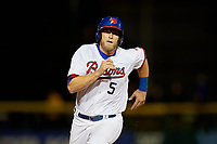 Buffalo Bisons left fielder Michael Saunders (5) running the bases running the bases during a game against the Pawtucket Red Sox on August 31, 2017 at Coca-Cola Field in Buffalo, New York.  Buffalo defeated Pawtucket 4-2.  (Mike Janes/Four Seam Images)