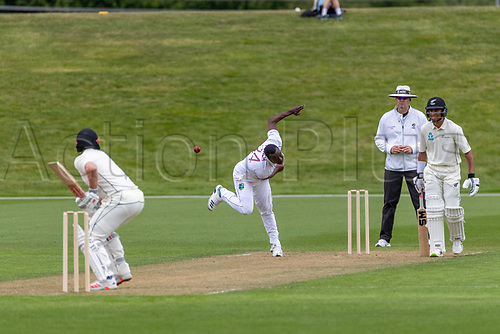 20th November 2020; John Davies Oval, Queenstown, Otago, South Island of New Zealand. West Indies Kemar Roach bowls for West Indies