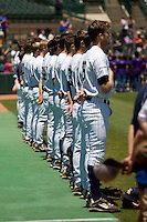 Rice Owls stand for the national anthem before their contest against the Memphis TIgers in NCAA Conference USA baseball on May 14, 2011 at Reckling Park in Houston, Texas. (Photo by Andrew Woolley / Four Seam Images)