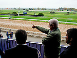 October 27, 2015 :  Donegal Racing President Jerry Crawford gives a thumbs up to a member of the media at the Trackside Marquee at Keeneland Race Track as Breeders' Cup hopefuls train through the remnants of Hurricane Patricia in Lexington, Kentucky. Scott Serio/ESW/CSM