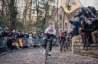 Zdenek Stybar (CZE/Quick-Step Floors) on the infamous Kapelmuur ahead of Greg Van Avermaet (BEL/BMC)<br /> <br /> Omloop Het Nieuwsblad 2018<br /> Gent › Meerbeke: 196km (BELGIUM)