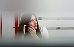 MANHATTAN, NY – AUGUST 24, 2015: Genetic counselor Jenna Miller takes a phone call at the genetic testing lab Recombine in Manhattan. <br /> <br /> Assignment ID: 30178555A