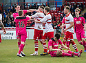 Airdrie's Marc Fitzpatrick (left) and Stirling's Kevin McKinlay clash after Referee Brian Colvin gives Airdrie a second penalty.