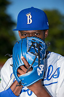 Burlington Royals pitcher Luis Alcantara (57) poses for a photo prior to the game against the Danville Braves at Burlington Athletic Stadium on August 12, 2017 in Burlington, North Carolina.  The Braves defeated the Royals 5-3.  (Brian Westerholt/Four Seam Images)