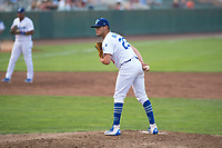 Ogden Raptors starting pitcher Orlandy Navarro (23) looks in for the sign during a Pioneer League game against the Great Falls Voyagers at Lindquist Field on August 23, 2018 in Ogden, Utah. The Ogden Raptors defeated the Great Falls Voyagers by a score of 8-7. (Zachary Lucy/Four Seam Images)