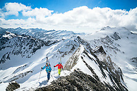 The Ortler Group in northern Italy is a popular region for spring ski touring using the huts for overnights to ski all the many peaks in the mountain group. Climbing the Gran Zebru/Königspitze, 3851 meters.