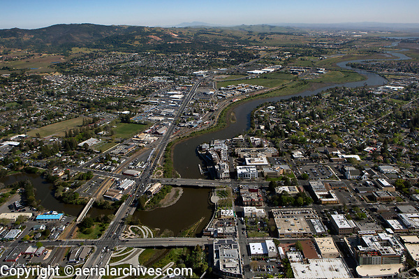 aerial photograph downtown Napa, California and the Napa River