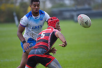 Action from the 2021 Takiwhitu Tuturu Sevens tournament match between Tonga and Samoa men's invitational teams at Hataitai Park in Wellington, New Zealand on Friday, 9 April 2021. Photo: Dave Lintott / lintottphoto.co.nz