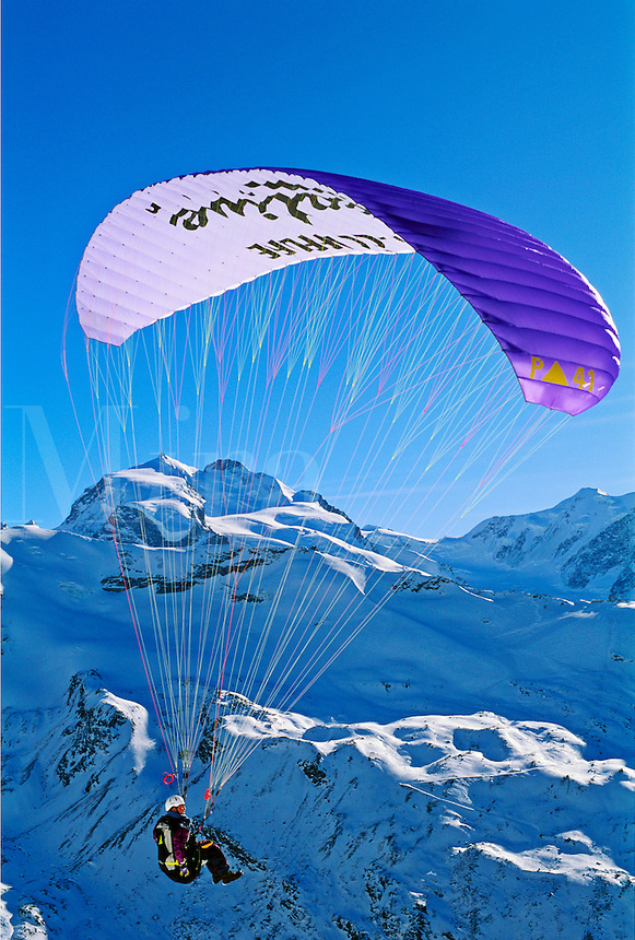 Switzerland, Zermatt. Parasailing