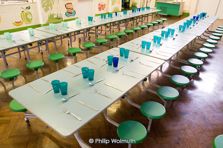 Tables prepared for lunch at Monega Primary School, Newham, London