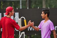 08-08-13, Netherlands, Rotterdam,  TV Victoria, Tennis, NJK 2013, National Junior Tennis Championships 2013,  Fabian van der Lans Bernard Wezeman(L)<br /> <br /> <br /> Photo: Henk Koster