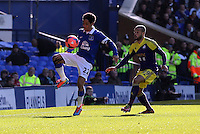Pictured: Ashley Jazz Richards of Swansea (R) and Steven Pienaar of Everton. Sunday 16 February 2014<br /> Re: FA Cup, Everton v Swansea City FC at Goodison Park, Liverpool, UK.