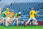 Jason Diggins, Kerry in action against Niall McKenna, Antrim during the Joe McDonagh Cup Final match between Kerry and Antrim at Croke Park in Dublin.