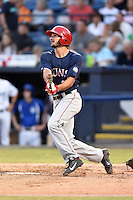 Hagerstown Suns second baseman Jake Noll (32) swings at a pitch during a game against the  Asheville Tourists at McCormick Field on September 4, 2016 in Asheville, North Carolina. The Suns defeated the Tourists 10-5. (Tony Farlow/Four Seam Images)